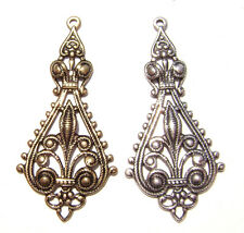 0009 Antiqued Brass Sterling Silver Filigree Teardrop Centerpiece Pendant Charm