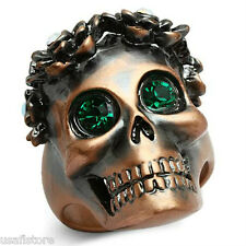 Mens Skull Wreath Emerald Eye Ancientry Gold Plated Ring