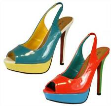 Womens Patent peeptoe slingback high heels coral blue summer shoes - SALE