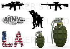 Planche stickers USA SOLDAT ARMEE ARME GRENADE LOS ANGELES porte mur chambre