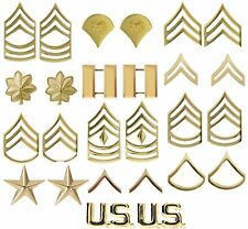 Gold Polished Military Pin On Rank Insignia Set - USA Made