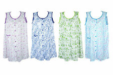 Free Shipping Womens Cotton Sleeveless Short Night Gown Floral Pajama M L XL XXL