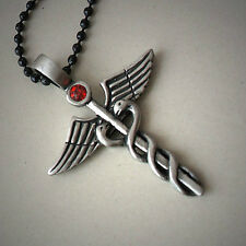 CADUCEUS Medical Symbol W Crystal Egyptian Serpent/Snake Silver Pewter Pendant