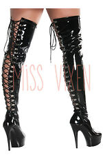 PLEASER Thigh High Black Latex Stripper Back Lace Up Boots Heels Platforms Shoes