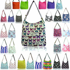 LYDC Large Ladies Designer Floral Canvas Messenger Bags Across Body Polka Flower