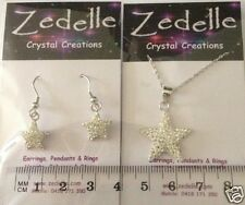 Sterling Silver & Crystal Disco Star Earrings Pendant or set - fashion kids