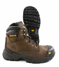 "CATERPILLAR BROWN SPIRO STEEL TOE SLIP RESISTANT 6"" BOOT LEATHER WORK & SAFETY"