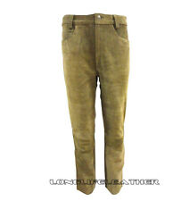 Men's Tan Suede Leather Jeans Style Pant 05 Pockets New Size 28 to 44