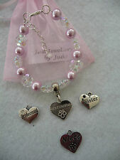 Pretty childs bracelet with personalised charm various colours HandMade
