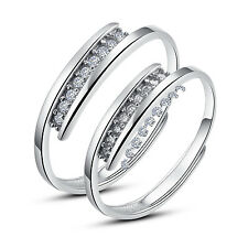 His and Hers Sterling Silver Rings Promise Rings Adjustable Open Ring Set