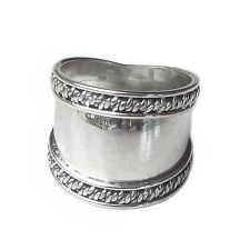 Genuine Bali Rope Edge Design Sterling Silver Wide Cigar Band Ring (RG12048)