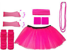 LADIES PINK NEON TUTU SKIRT FANCY DRESS HEN PARTY PARTY UV FISHNET  8-16 & 16-22
