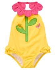 GYMBOREE SPRING BLOSSOM YELLOW FLOWER N BUTTERFLY 1-PC HALTER SWIMSUIT 3 6 NWT