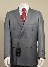 Vitali Grey Double Breasted European Design Shiny Suit Style G3090