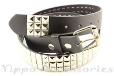 3 Row Metal Pyramid Studded Leather Belt Mens Womens Punk Rock Biker