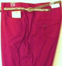 Sonoma Modern Fit Dark Red Pink Capris with Stretch Belt & Zipper Bottom Leg NEW