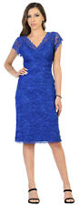 MOTHER OF THE GROOM BRIDE LACE SHORT EVENING PLUS SIZE CAP SLEEVE BANQUET DRESS