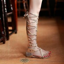 Ladies Tall Calf Knee High Leg Womens Flat Strappy Gladiator Sandals Shoes Sizes