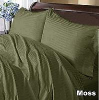 COMPLETE BEDDING COLLECTION 1200TC 100% EGYPTIAN COTTON MOSS STRIPE ALL SIZE