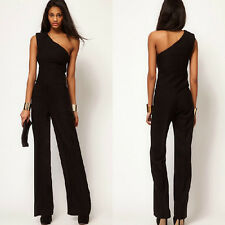 Women Black One Shoulder Sexy Jumpsuit Bell-bottoms Loose Overall Pants Sz S-XXL