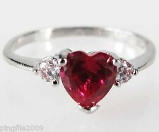 Size 6,7,8,9 Jewelry Woman's Heart Ruby White Topaz 10KT White Gold Filled Ring