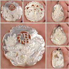 Mother of pearl MOP white shell dragon phenix buddha turtle pendant focal bead