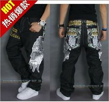 Graffiti embroidery Cool Men's Hip Hop Jeans Casual Pants Size 30-42