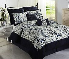 Splash BLUE, White 8pc Comforter Set Print Microfiber Navy Blue Bed Cover