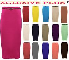 New Ladies Belted Plain Pencil Skirts Long Bodycon Stretch Office Skirt