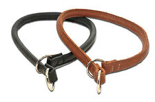 Soft Rolled Genuine Leather Choke Collar- Black-Brown-10 Sizes