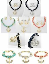 NEW CRYSTAL ANCHOR PENDANT NAUTICAL ROPE CHAIN NECKLACE EARRINGS SET OR BRACELET