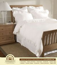 350TC SOLID EDGE RUFFLED DUVET SET 3 PC EGYPTIAN COTTON BED LINENS - INDIANITY