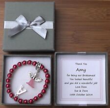 PERSONALISED BRIDESMAID THANK YOU GIFT CHARM BRACELET SILVER PLATED INITIAL