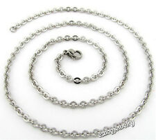 """Wholesale 12pcs Unisex 316L Stainless Steel O Chain Necklace 2.4mm 16""""-30"""""""