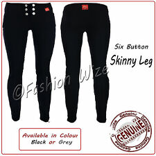 Girls Black Grey School Trousers Size 4-16 Miss Sexies 6 Button Super Skinny