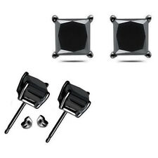 1-2-3-4 Carat 5-6-7-8 mm Black Princess CZ Silver Stud Earring Black Rhodium