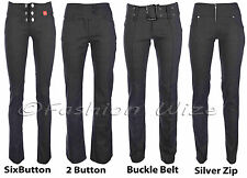 Ladies Trousers Womens Stretch Hipster Charcoal Grey Black Miss Chief Sizes 4-16