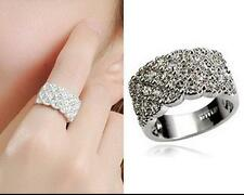 18K GP Rose white Gold Plated Inlay Crystal married wide Ring Size :6 7 8 9