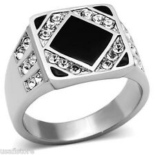 Mens Flat Black Center Crystal Stones Silver Stainless Steel Ring