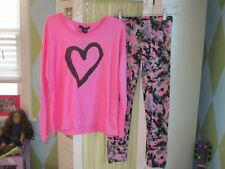 NWT FLOWERS BY ZOE pink heart top camo leggings Sz  5 & 10/12