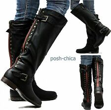 New Womens JM18 Red Zipper Black Studded Riding Knee High Boots USA Sz 5.5 to 11