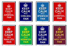 KEEP CALM I'M A *YOUR FAVORITE FOOTBALL TEAM* FAN - 8 CHOICES FRIDGE MAGNET
