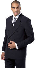 Men's High Quality Double Breasted Suit (Jacket+pants) Black White 38R~58L