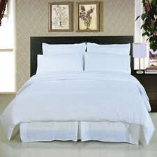 USA FREE SHIPPING BEDDING SET 1200TC 100% EGYPTIAN COTTON WHITE SOLID ALL SIZE