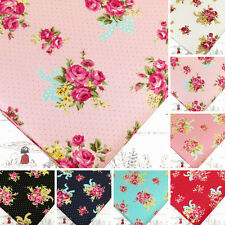 ROSE FLOWER BOUQUET BOW & Retro POLKA DOT SPOT COTTON FABRIC VK26 by FAT QUARTER