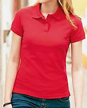 new ladies fitted  polo shirts fruit of the loom red/white