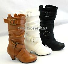 Girls Youth Slouch Zipper Buckle High Heel Fashion JR Tall Mid Calf NEW Boots