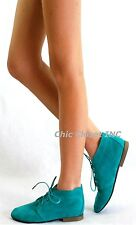 NEW Women Oxford Lace Up Low Flat Heel Fux Suede Round Almond Toe Ankle Top Shoe