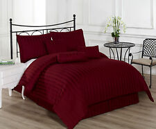 Royal Calico BURGUNDY 7pc Comforter set Damask Stripe 100% Cotton 350 Threat