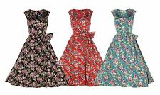 NEW LINDY BOP CLASSY VINTAGE 1950's FIFTIES FLORAL PRINT TEA DRESS SWING JIVE